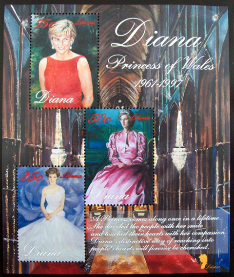 Liberia, Bloque Princesa Diana 2007 3 Sellos Mint L5617