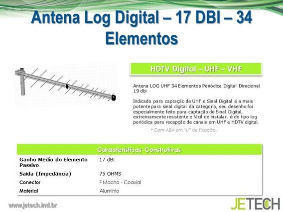 Antena Digital Externa Log -17 Dbi 34 Elementos