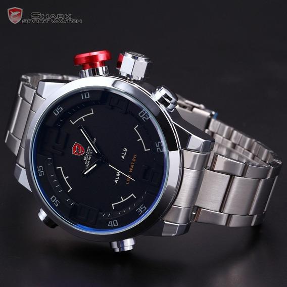 Relógio Esportivo Inox Shark Sh103 Original Dia Dos Pais