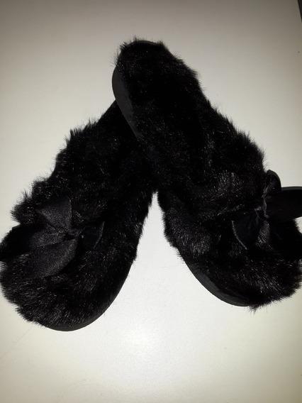 Pantuflas Chanclas Peludas Con Moño Negro Nº37 23 Cm 1uso!!!
