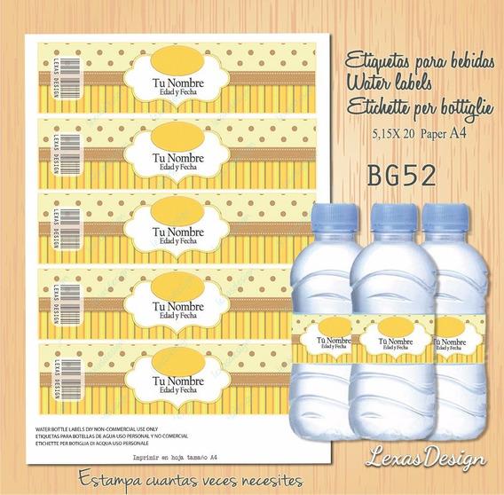 Etiquetas Botellas Bebidas Zoo Candy Bar,pdf Bg52