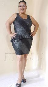 7a07bdeb85 Vestido De Licra Con Vuelo Peplum- Brillantetallas Grandes -