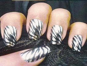 Película De Unhas Listrado Zebra Prata Metalizadas