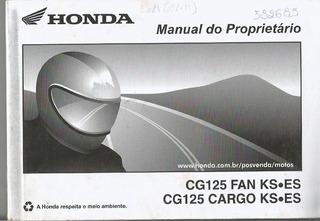 Manual Proprietário Moto Honda Cg 125 Fan Ks Es 2014