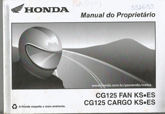 Manual Proprietário Moto Honda Cg 125 Fan Ks Es 2014