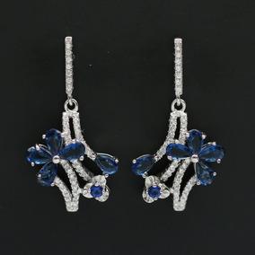 Brinco Feminino De Prata 925 + Ródio + Cristal Zircônia Azul