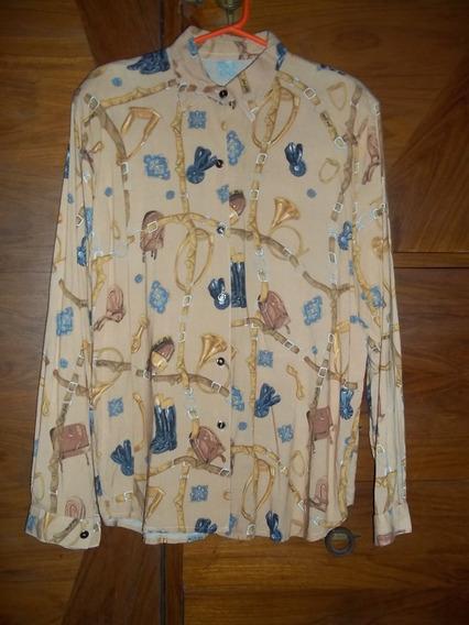 Camisa Camisola Señora Fibrana Manga Larga Lindo Estampado