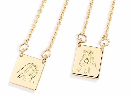 Escapulario Rommanel 531434 68cm Folh Ouro Artigo Religioso