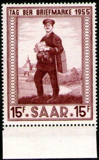 Saar = Sarre Sello Mint Día Del Cartero = Filatelia Año 1955