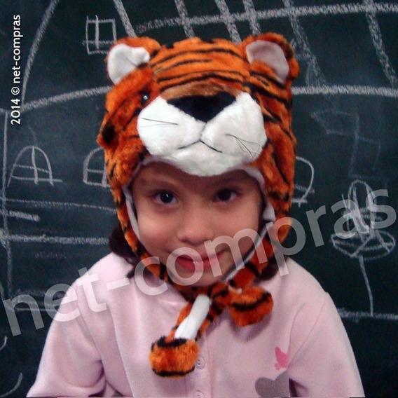 Touca Bicho Pelúcia Tigre Inverno P/ Crianças De 1 A 6 Anos