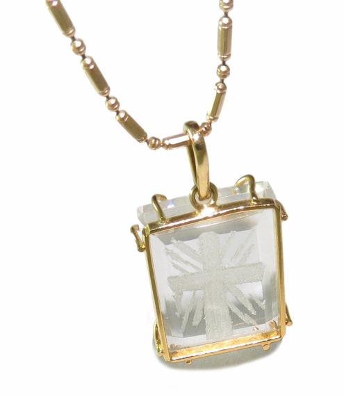 Colar Folheado A Ouro 18k + Pingente De Cristal Esculpido