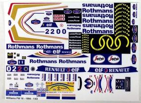 Decalques Completos Para Williams Fw16 - 1994 Escala 1/43