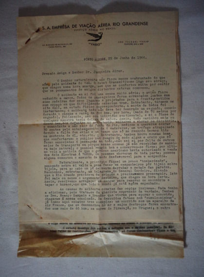 Varig Aviação Avião Acidente 3 Cartas Dec 40