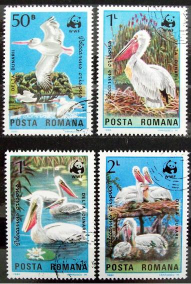 Rumania, Aves Serie Sc. 3232-35 Pelícanos 84 Usada L6013
