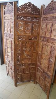 Antiguo Biombo Hindu Tallado A Mano