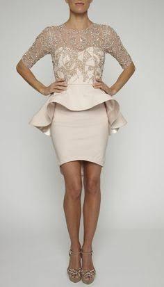 Vestido Rachel Gilbert Rosa Peplum Pedreria Usado