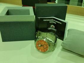 Relógio Orient Sport Mbssc037(fundo Laranja) Aço Analógico