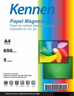 Papel Magnético Mate Kennen 5 Hojas A4 De Imán Imprimible