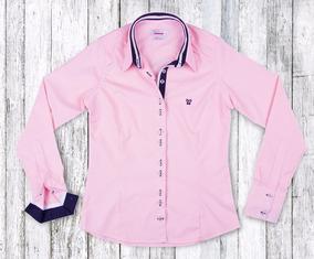 Camisa Social Feminina My Cris Listrada Rosa Claro Slim Fit