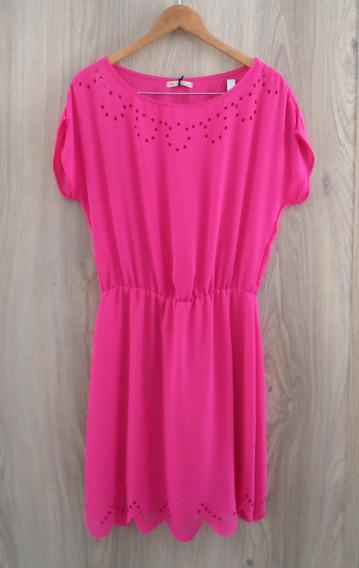 Vestido Casual Chifon Pink Elástico Na Cintura Corte A Lazer
