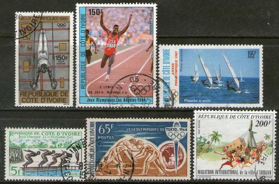 Costa De Marfil 6 Sellos Deportes = Olimpíadas Años 1961-87