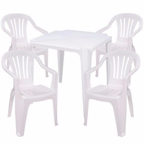 Mesa De Plástico Com 4 Cadeiras De Plástico Bela Vista Mor