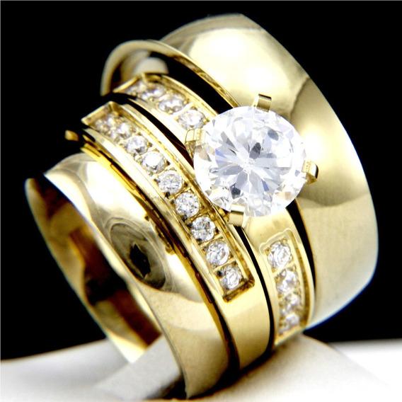 Par De Aliança Ouro 18k E Anel Com Diamantes