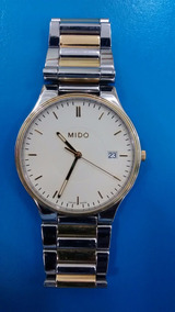 Relogio Mido Ref 4554-9 Bicolor Vidro Safira