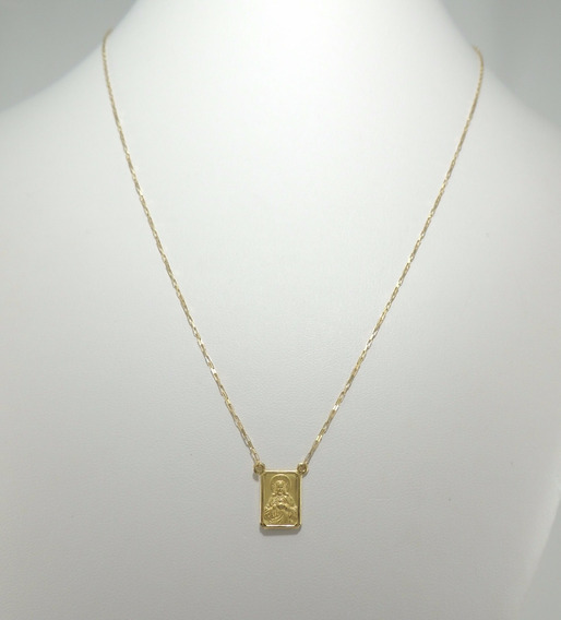 Escapulário Masculino Cordão Cadeado 65 Cm Ouro 18k 750