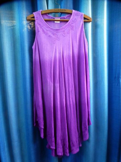 Vestido De Gasa Bordada Made In India Talle M