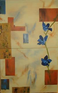 Pintura Al Óleo Flores Azules