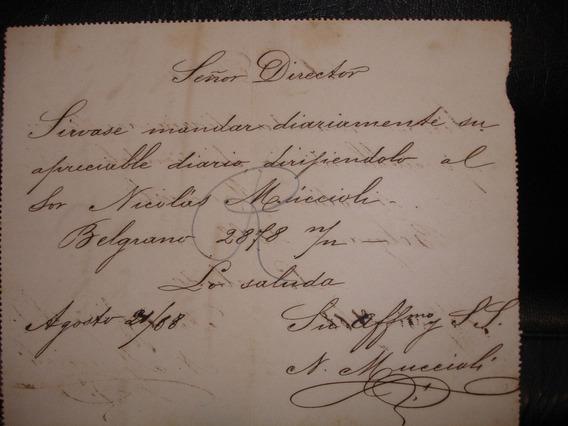 Carta Solicitud Envio De Diario 2 Centavos Sellada En 1888