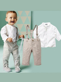 Conjunto De Bebê Social Com Suspensório Bege Importado