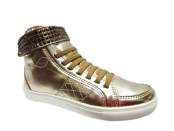 Tenis Feminino Casual Sapatenis Ouro Light Dello 003949