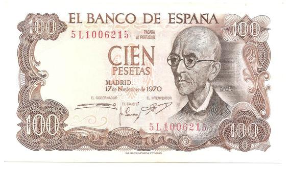 España, 100 Pesetas, 1970 (1974). P#125a. Casi Sin Circular.