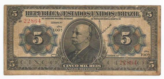 Brasil 5 Mil Réis 1913 R095 Mbc Cédula - Tchequito