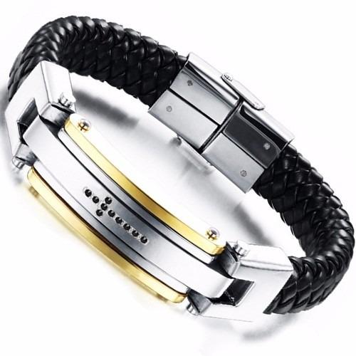 Pulseira Couro Legítimo Aço Inoxidável Pedra Cruz Bracelete