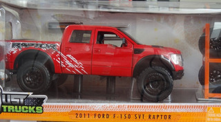 Miniatura Ford F150 Svt Raptor 2011 Troca Rodas Verm 1/24