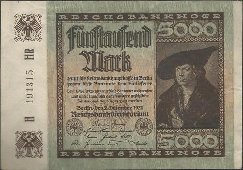 Alemania 5000 Mark 2 Dic 1922 P81a