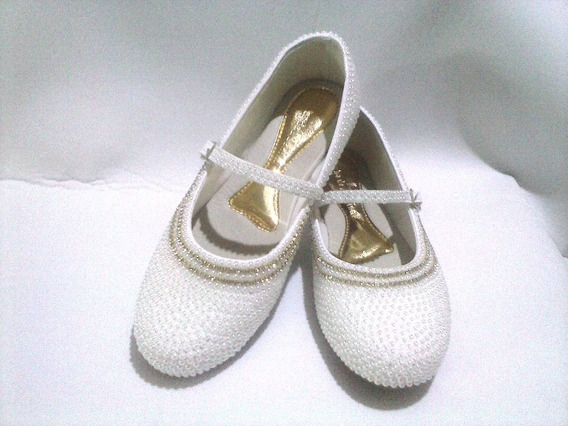 Sapato Boneca Customizado Com Pérolas E Strass