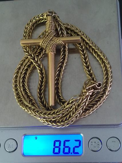 Corrente C/pingente Ouro Maciço 18k-750-85.7gr.66.8cm.-bela.