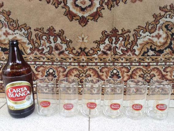 Cerveza Carta Blanca Retro Vintage Juego Seis Vasos Antiguos