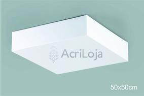 Kit C/ 4 Plafon Acrílico 50x50 Sobrepor Quadrado Luminárias