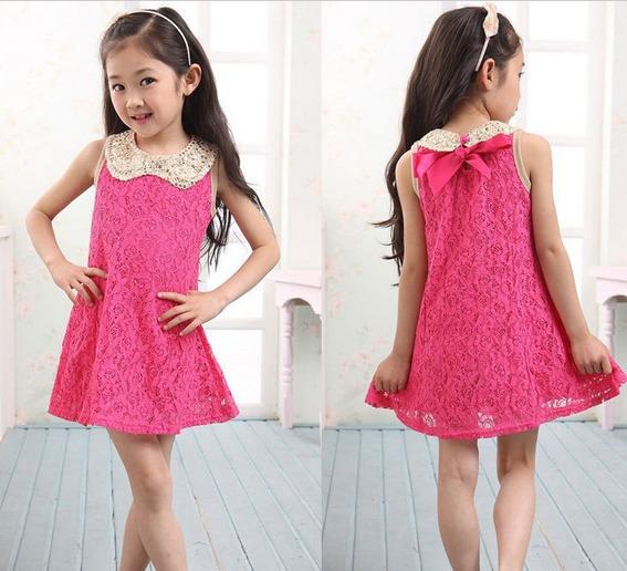 Lindo Vestido Infantil Rosa Choque De Renda - Pronta Entrega