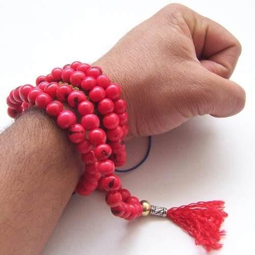 Imagen 1 de 5 de Japa Mala Budista En Color Rojo Semillas Azahí Tegua