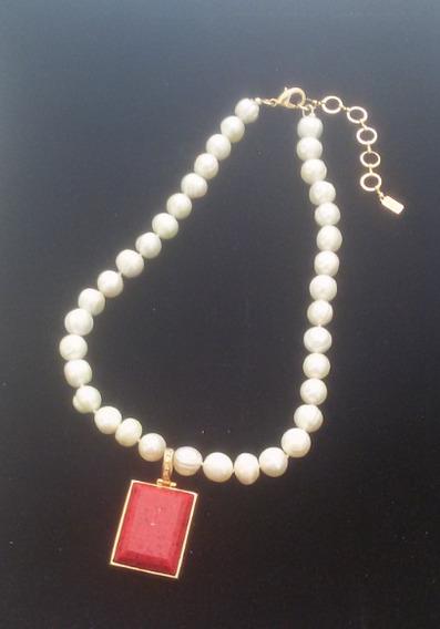 Colar Perolas Pedra Natural Rubi Semi-joias Banhada Ouro 18k