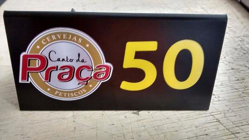 20 Placa Número Mesa Bar Restaurante Com Logo Acrílico