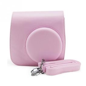 Bolsa De Couro Sintético C Alça Para Câmera Instax Mini Rosa