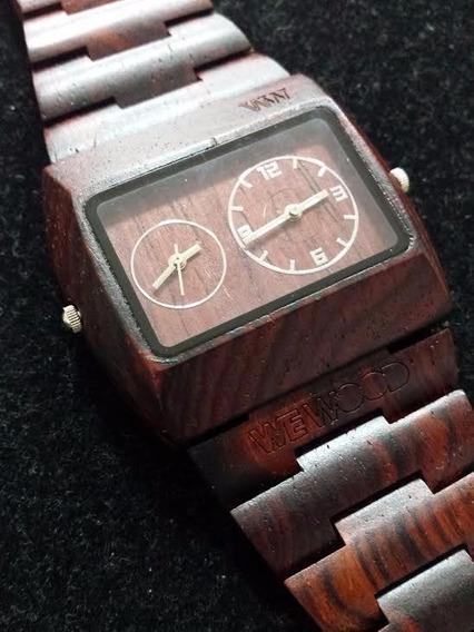 Relógio Pulso Madeira Jupiter Marrom Wewood 2 Horários