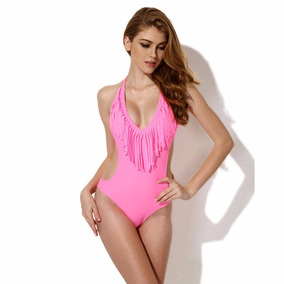 cdc132c83 Apollo Monokini Con Flecos Halter Rosa Neon Talla M